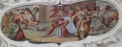 Jesus und die Ehebrecherin (südliches Seitenschiff zweites Joch)