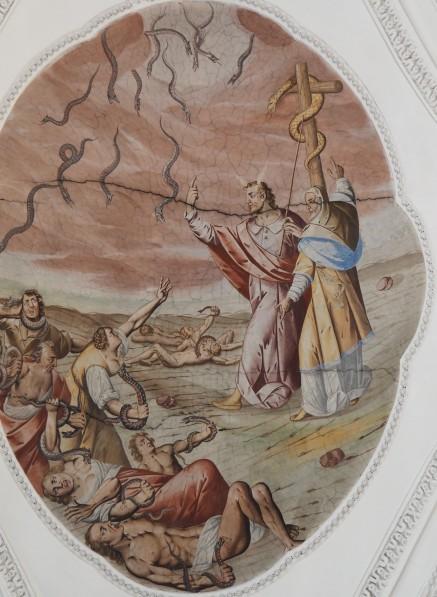 Mose erhöht die Schlange (nördliches Seitenschiff fünftes Joch)
