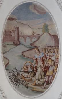 Mose wird aus dem Nil gerettet (nördliches Seitenschiff siebtes Joch)