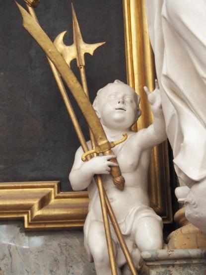 Benediktus-Altar, Putto beim Heiligen Placidus