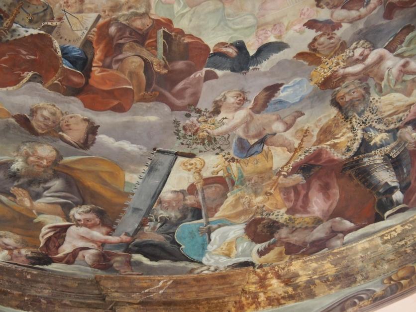 Kuppelfresko, Ägidius (mit Abtsstab) und Benedikt von Nursia (mit Schlange im Becher)