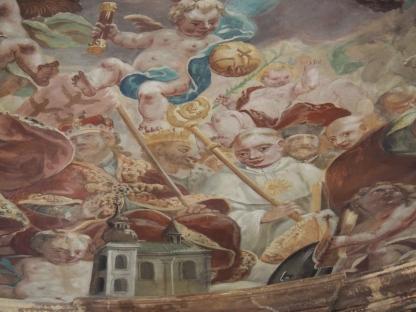 Kuppelfresko, Leopold III. von Österreich und Bernhard von Clairveaux (mit Gottesauge) und Ägiduskapelle