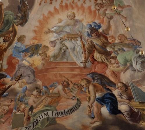 Stiftskirche, Deckenfresko Altarraum: Lobpreis Gottes