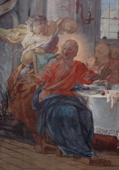 Stiftskirche, Wandfesko: Jesus im Haus des Simon