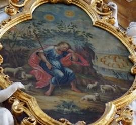 Stiftskirche, Jesu-Kind-Altar: Jesus als Hirte, um 1740