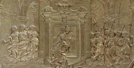 Stiftskirche, Nepomuk-Altar: Relief Beichte der Königin