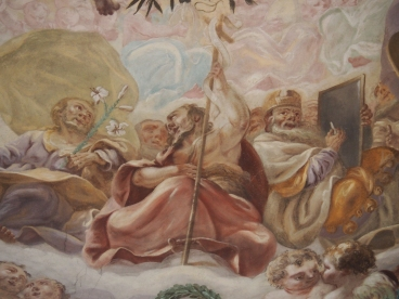 Kreuzkirche, Kuppelfresko: Johannes der Täufer zwischen Joseph und Zacharias