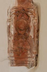 Refektorium, Eckkonsole: Mönch mit Sackpfeife