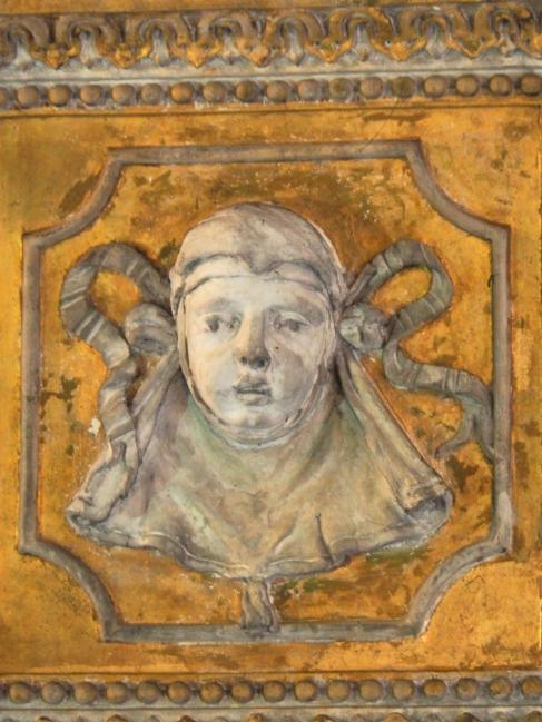 Rom, Basilica Santa Praassede, Stuckkopf vom barocken Umbau 1594 bis 1600